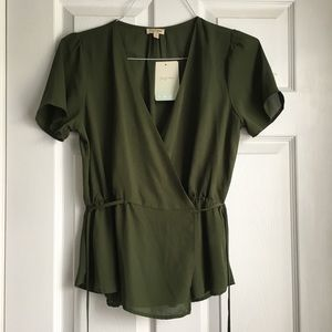 Tops - Green wrapped blouses